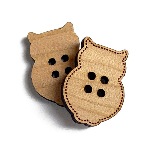 Owl Shaped Wooden Buttons