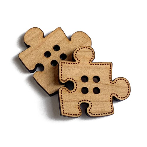 Puzzle Piece Wooden Buttons