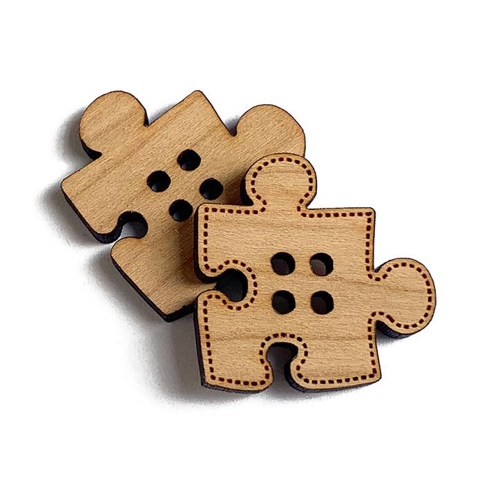 Puzzle Piece Wooden Buttons