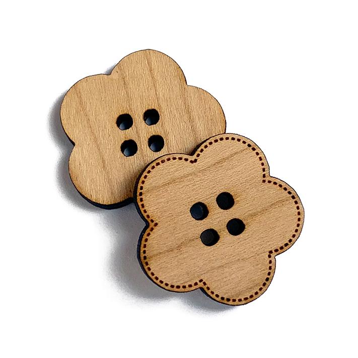 Flower Wooden Buttons
