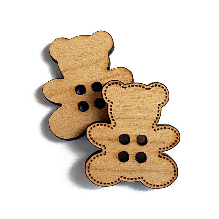 Teddy Bear Wooden Buttons