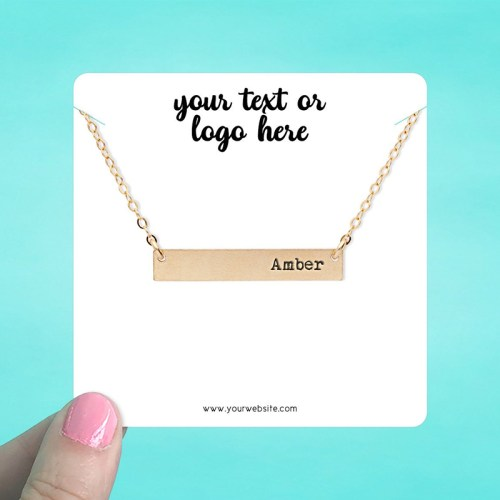 "Set of 34 3.5 x 3.5"" Rounded Square Necklace Display Cards"