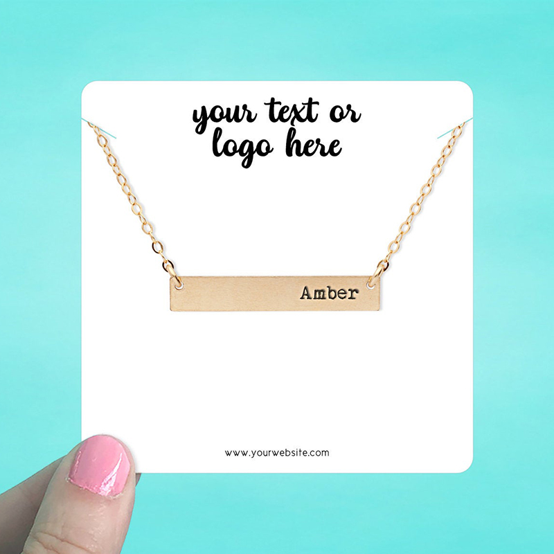 """Set of 34 3.5 x 3.5"""" Rounded Square Necklace Display Cards"""