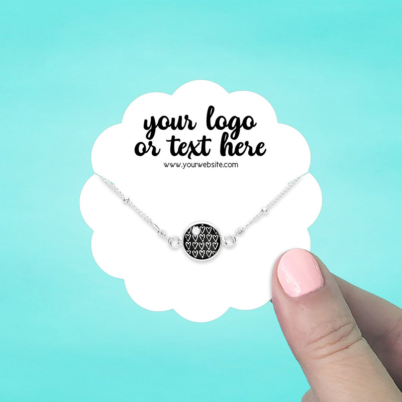 """Set of 42 3 x 3"""" Scallop Circle Necklace Display Cards"""