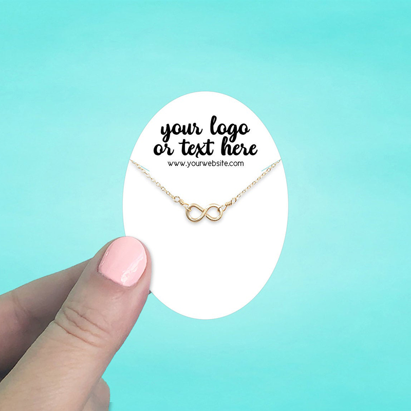 """Set of 72 2 x 2.75"""" Oval Necklace Display Cards"""