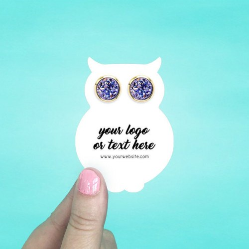 """Set of 72 2 x 2.75"""" Owl Shaped Earring Display Cards"""