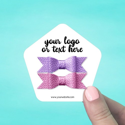 "Set of 42 3 x 3"" Pentagon Hair Bow Display Cards"
