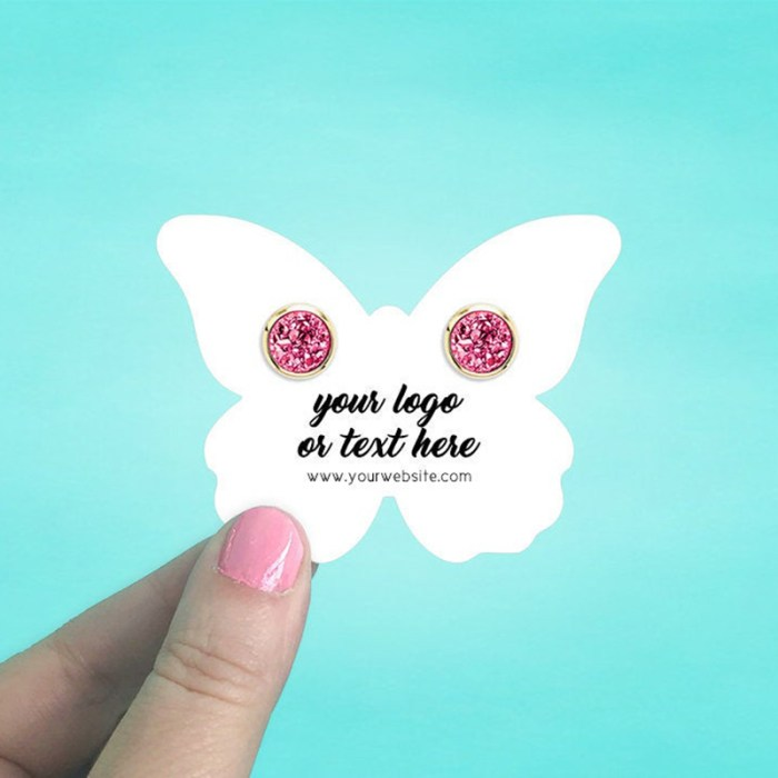 """Set of 60 3 x 2.25"""" Butterfly Earring Display Cards"""