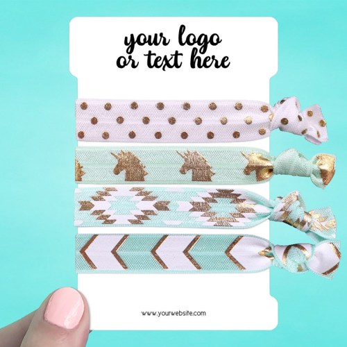 "Set of 28 3 x 4.5"" Rounded Rectangle Hair Tie Display Cards"