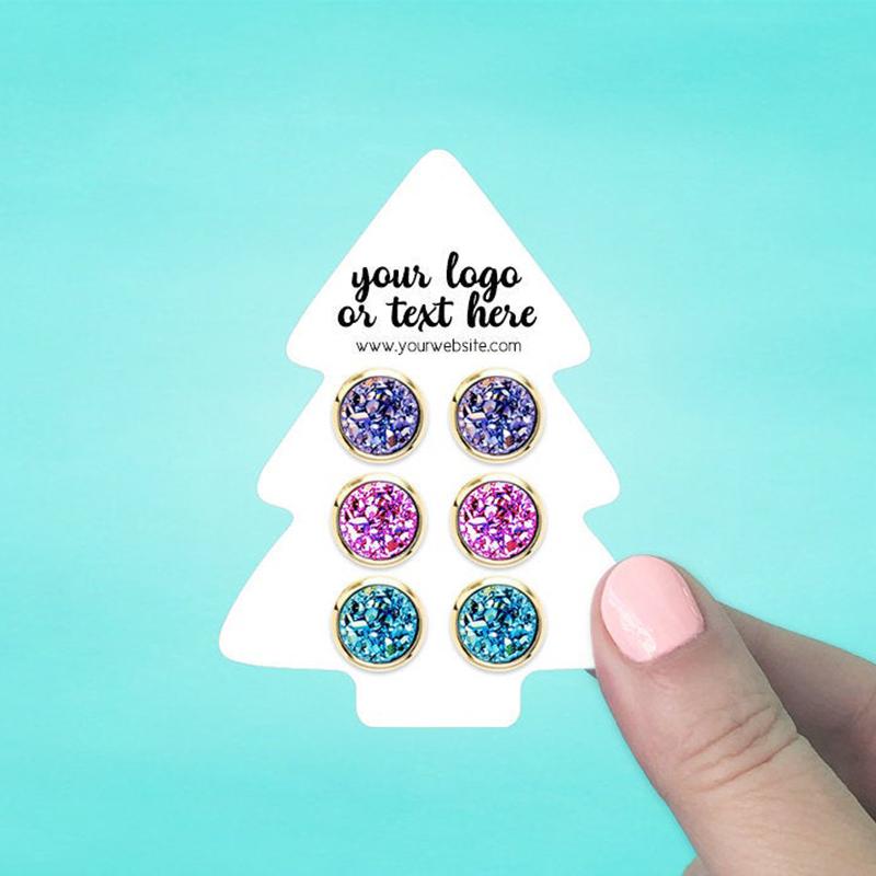 "Set of 58 2.5 x 3.25"" Christmas Tree Earring Display Cards"