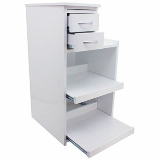 Surgical Utility Cabinet Cart With Multi-Functional Drawers & Wheels - White