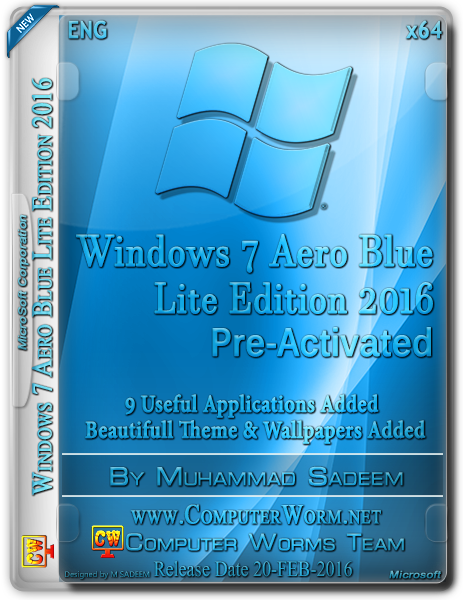 Windows 7 Aero Blue 2016 x64