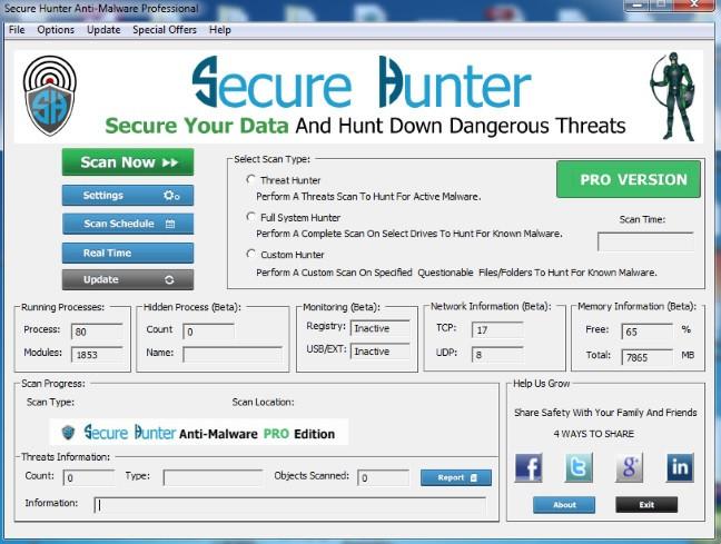 Secure Hunter Anti-Malware Pro Crack Patch Keygen License Key 2017