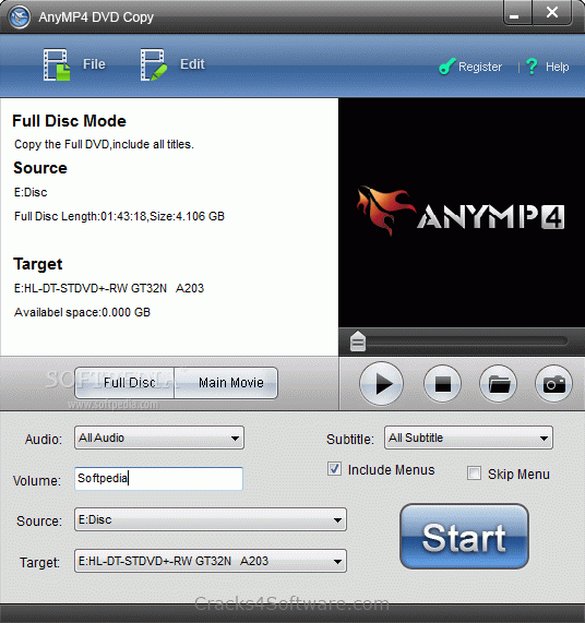 AnyMP4 DVD Copy Crack Serial Key