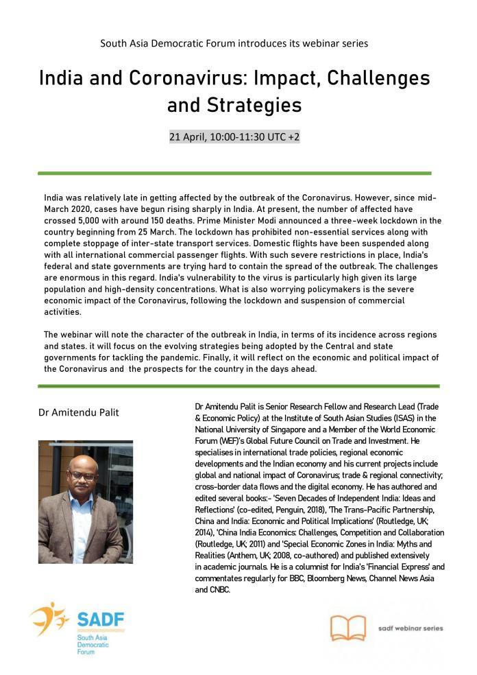 , Webinar Series – India and Coronavirus: Impact, Challenges and Strategies