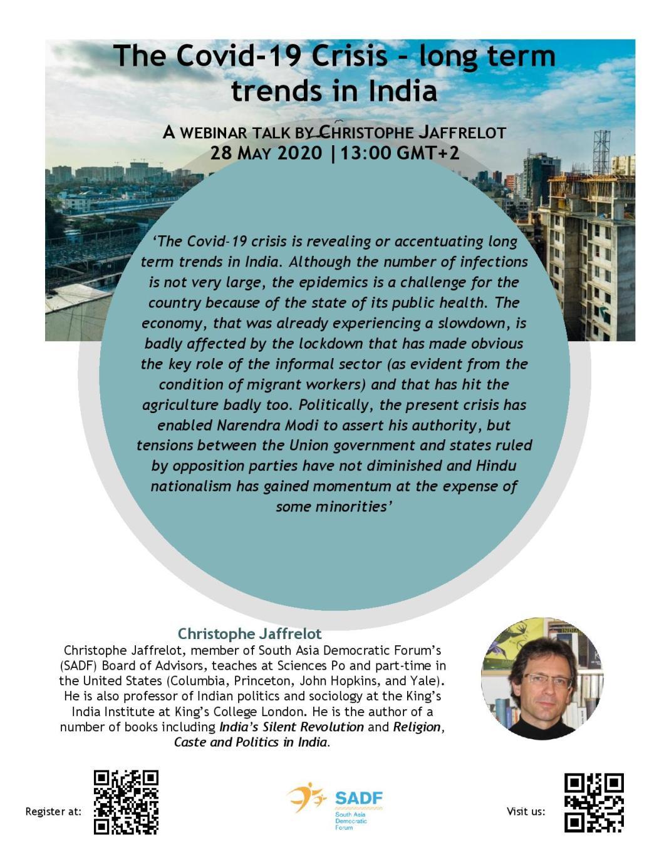 , Dr Christophe Jaffrelot 'The Covid-19 Crisis – long term trends in India' – Webinar talk