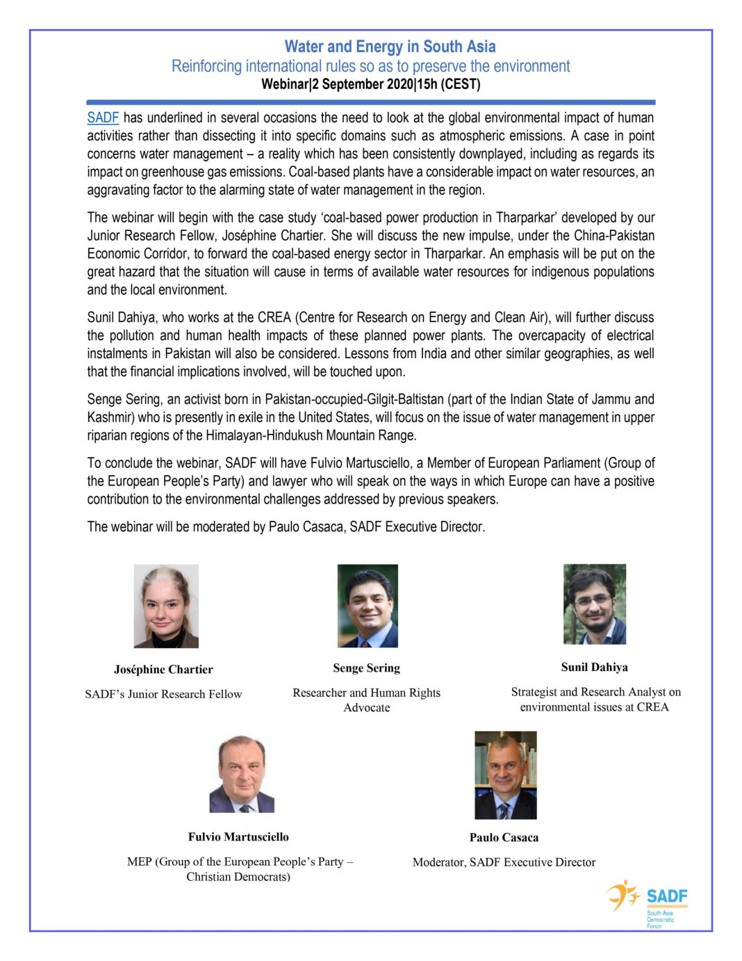 , Webinar Postponed to 2 September 2020 at 15h (CEST) – Water and Energy in South Asia Reinforcing International Rules so as to Preserve the Environment