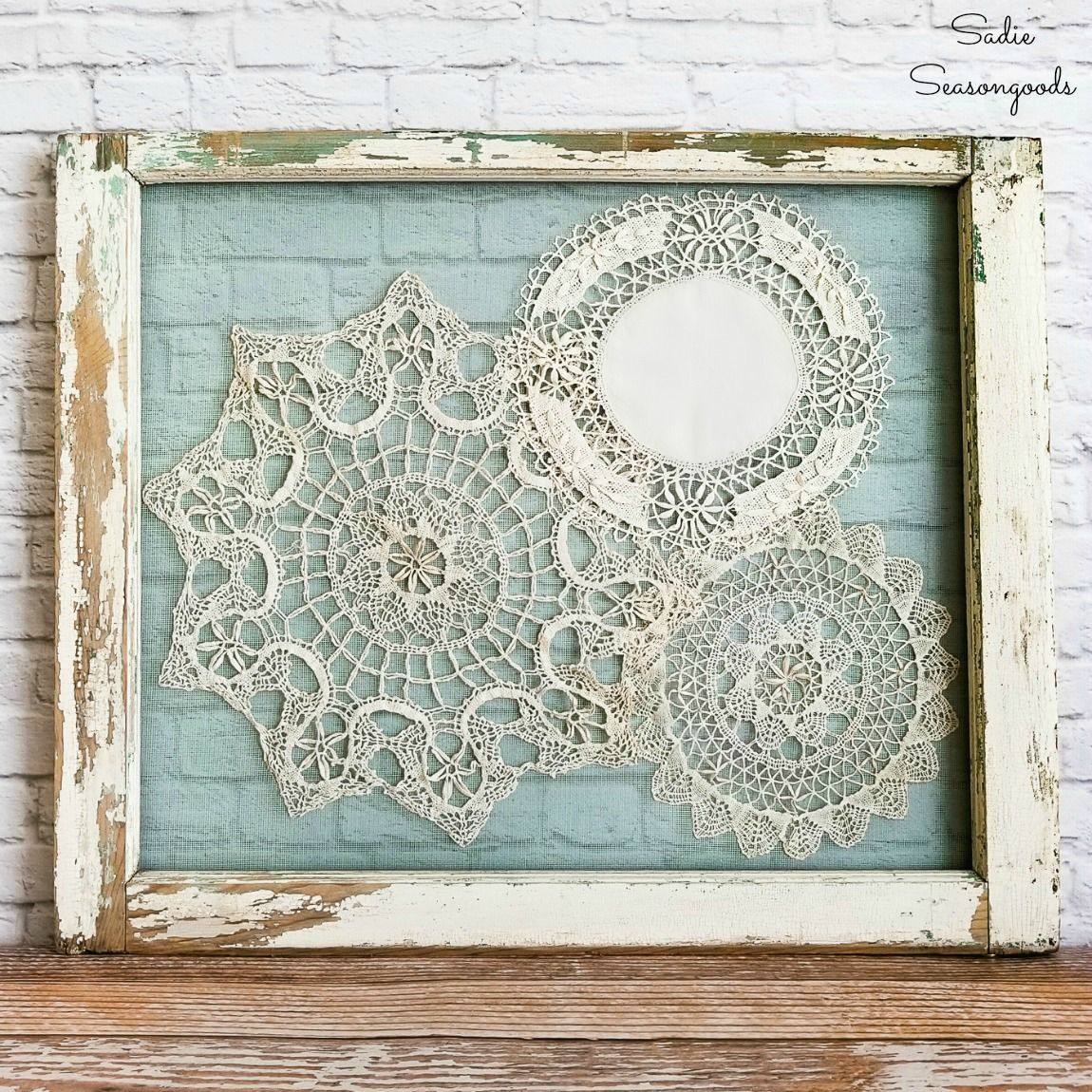 Shabby Chic Wall Decor with Lace Doilies and an Old Window ...