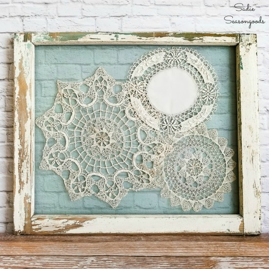 Shabby chic wall decor and window frame decor with lace doilies for a farmhouse bedroom