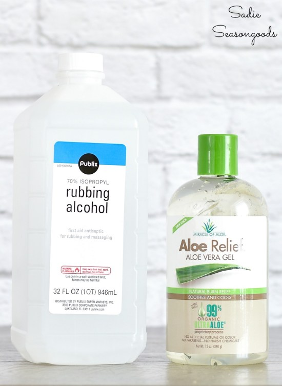 Ingredients for DIY hand sanitizer with aloe vera gel and rubbing alcohol