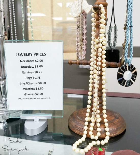 Vintage pearls at the thrift store for upcycling into beach jewelry