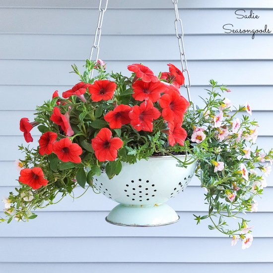 Enamel colander as an outdoor hanging basket and front porch planter