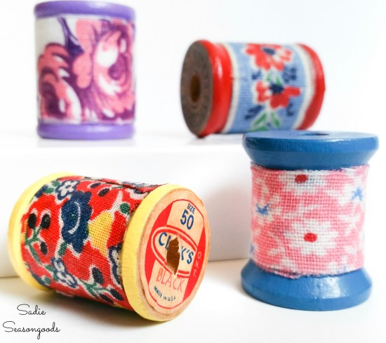 Vintage wooden spools and flour sack fabric as necklace pendants