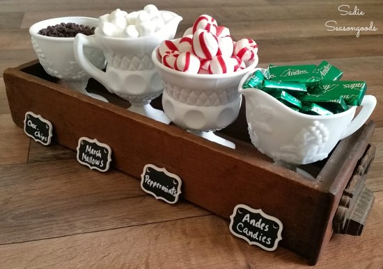 How to make a hot chocolate bar with a library card catalog and milk glass to hold hot chocolate toppings by Sadie Seasongoods / www.sadieseasongoods.com