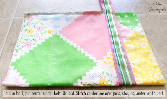 Creating the pockets of a half apron from a pillowcase