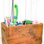 Cat Toy Storage In A Vintage Wooden Crate On Vintage Casters