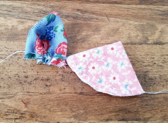 How to make a lapel flower with vintage fabric or flour sack cloth