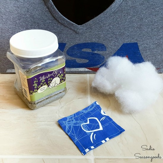 Catnip toys for cats by repurposing t shirts