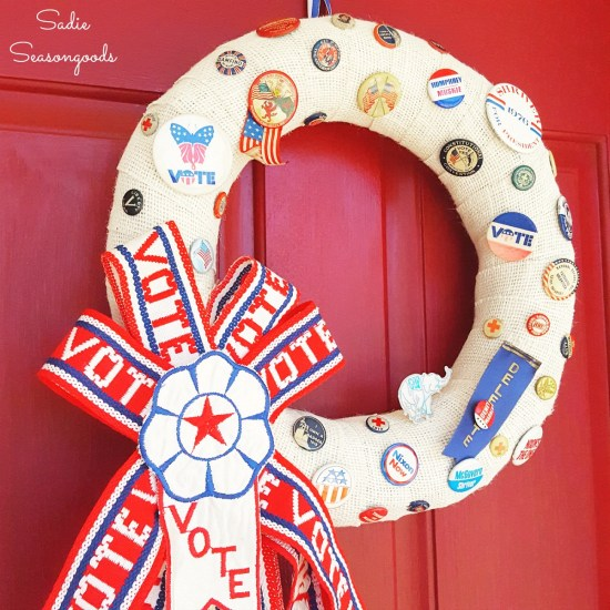 Get Out the Vote as a patriotic wreath to celebrate GOTV with pinback buttons, campaign buttons, and vintage ribbons by Sadie Seasongoods