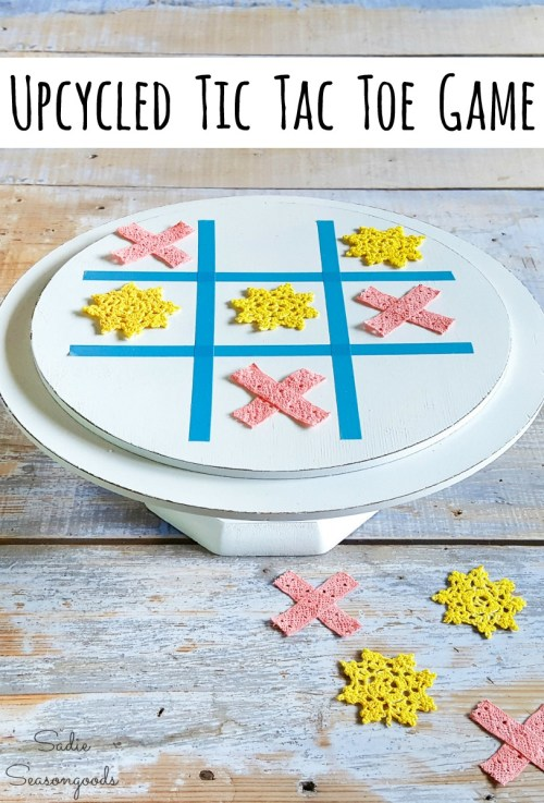 Wooden cake stand and small doilies as a tic tac toe game