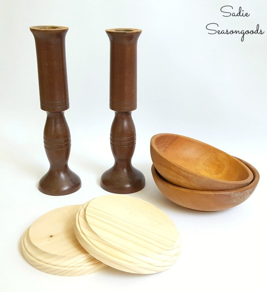 Building a hat holder or hat storage for Trilby hat by upcycling wooden bowls and wooden candlesticks