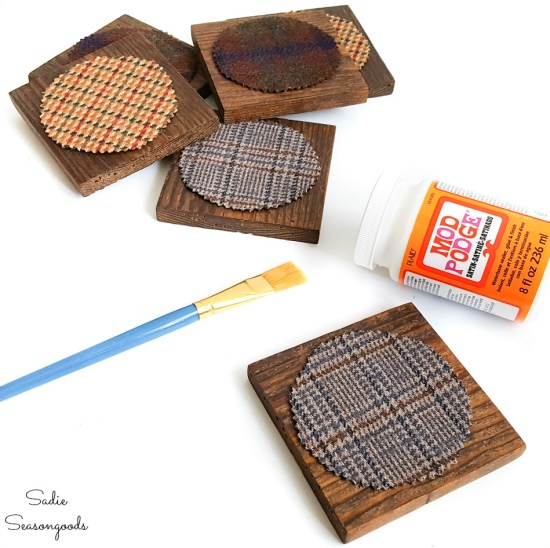 Decoupaging fabric on wood with Mod Podge