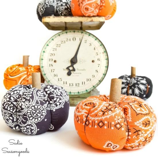 Fabric pumpkins from a Halloween Bandana