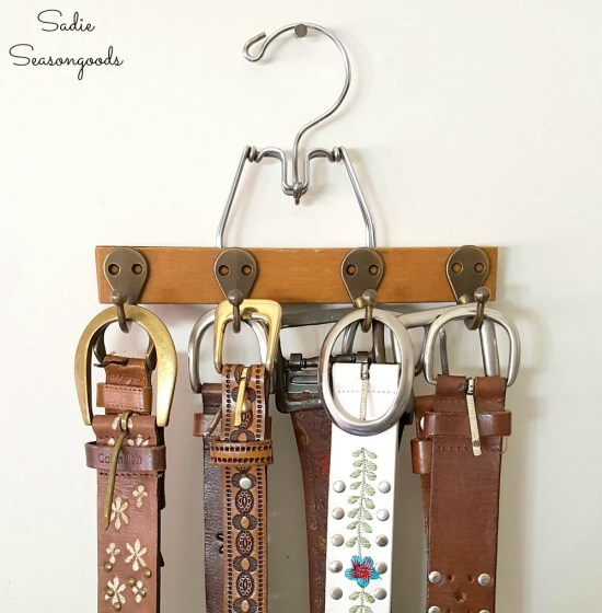 Making best man gifts or anniversary gifts for men from upcycled panters hangers into belt hanger or belt organizer