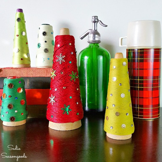 Cone Christmas trees and tabletop trees by upcycling the serger thread or thread cone as a Christmas project