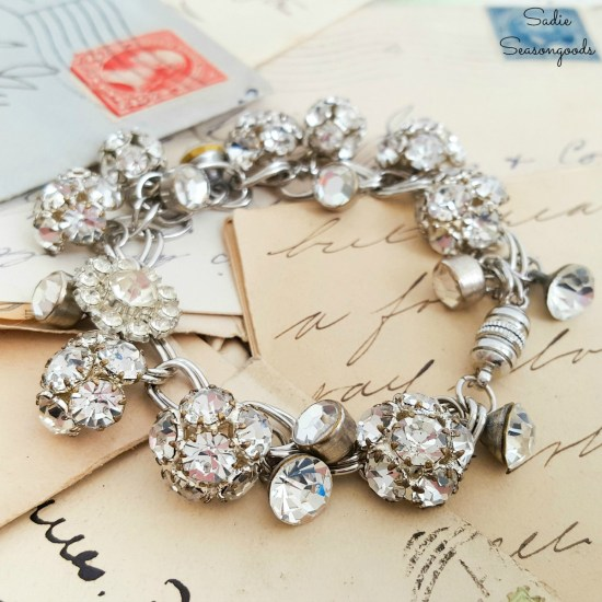 DIY charm bracelet or button jewelry by upcycling the rhinestone buttons into silver charms