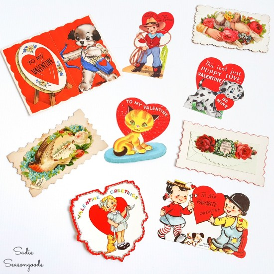 Little valentines to attach to a carpet beater for vintage valentine decorations