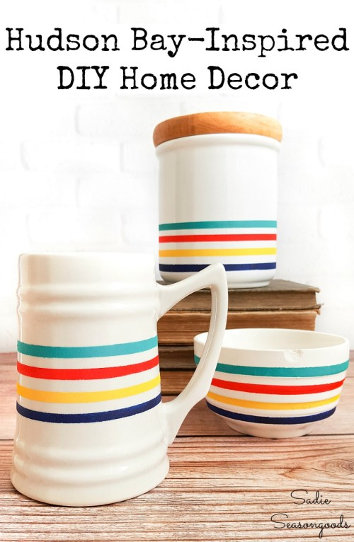 Lodge decor by painting the Hudson Bay stripes on plain white dishes