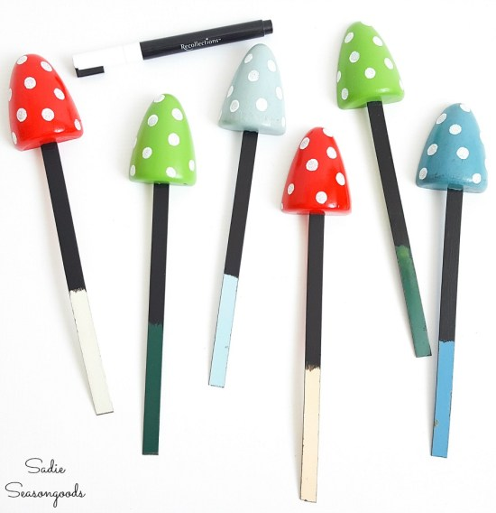 Garden markers that look like the toadstool mushrooms for garden decor