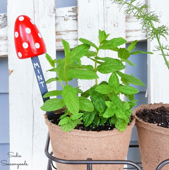 Plant markers and mushroom garden ornaments from shoe stretchers