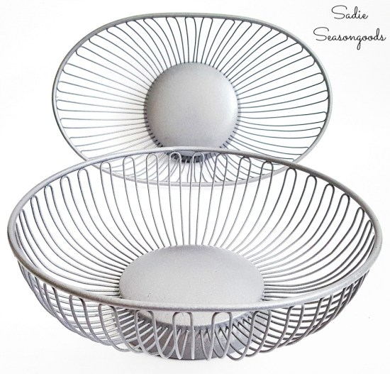 Wire bread baskets that have been painted with Galvanized spray paint