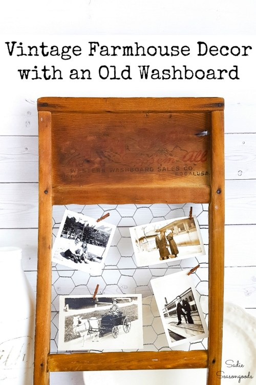 Upcycling an old washboard into primitive country decor with chicken wire