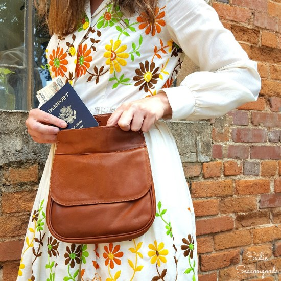 How to refashion a thrift store purse into a hip bag or bum bag to use as best travel purse
