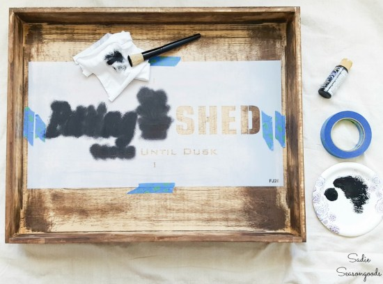 Stenciling a drawer to become a planter bench or garden station
