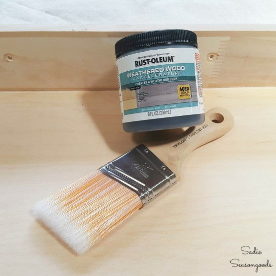 Weathered wood accelerator by Rustoleum on a wooden drawer
