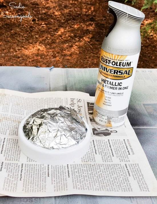 Spray painting a closet push light